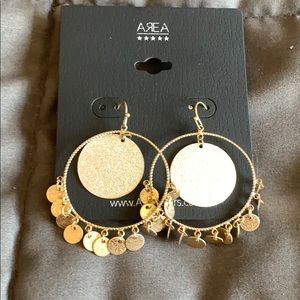 NWT Area Stars gold hoop with coins drop earrings